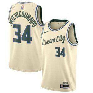 Milwaukee Bucks Giannis Antetokounmpo Cream Jersey3